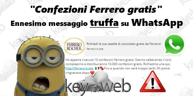 """""""Confezioni Ferrero gratis"""", ennesimo messaggio truffa su WhatsApp"""
