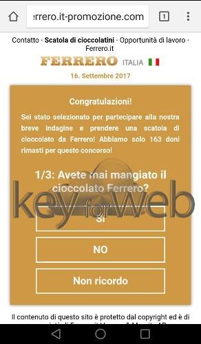 Finto questionario Ferrero