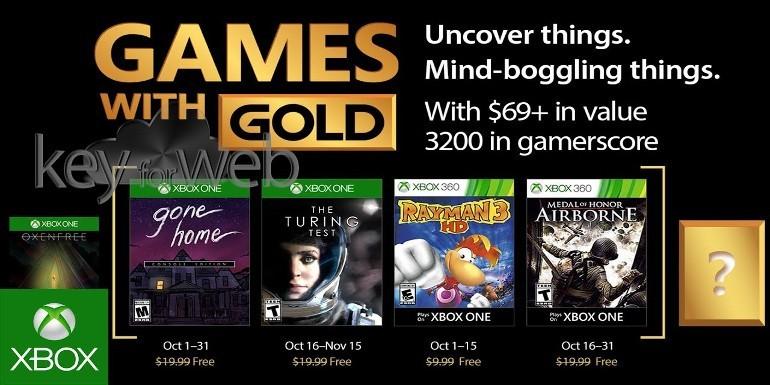 Games With Gold di ottobre 2017: i giochi gratuiti di Xbox One e 360