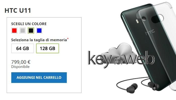 HTC U11 ritorna in Italia con 6GB di RAM e 128GB di memoria interna al prezzo di 799€