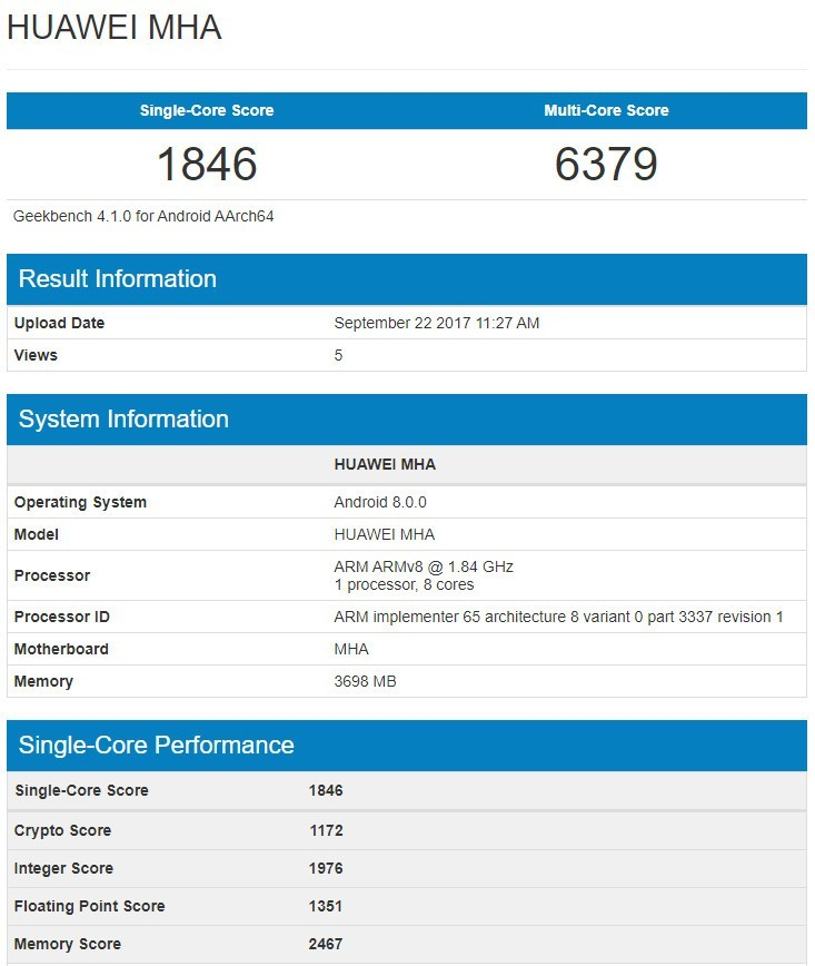 Benchmark Huawei Mate 9 con Android 8.0 Oreo