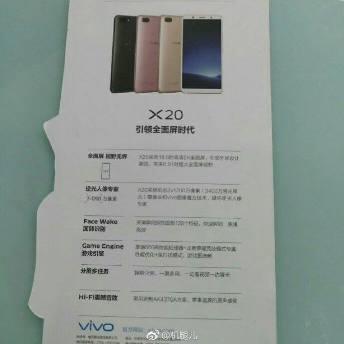 Le caratteristiche tecniche del Vivo X20