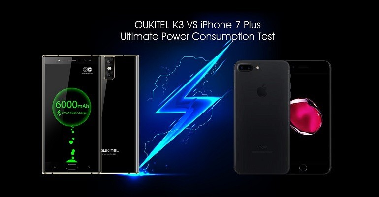 iPhone 7 Plus VS Oukitel K3: test di durata batteria