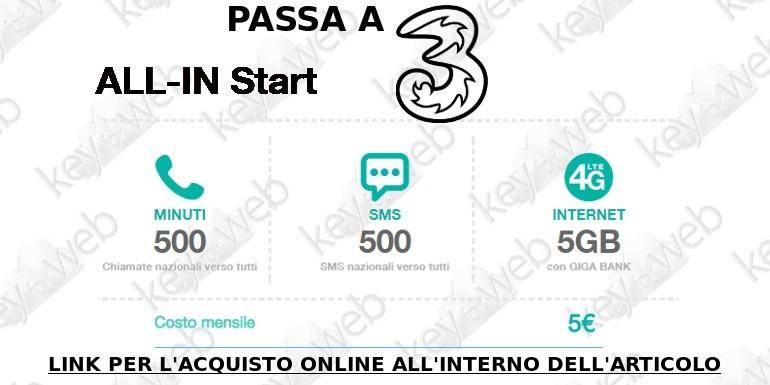 Passa a Tre Italia con All-In Start: 500 minuti, 500 SMS + 5GB a 5€, ecco come aderire