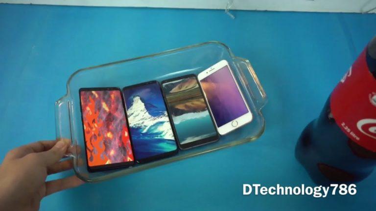 Samsung Galaxy Note 8 vs Samsung Galaxy S8 vs LG G6 vs iPhone 7 Plus in un Coca Cola Test