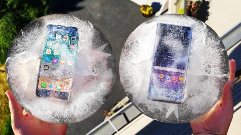 iPhone 8 e Samsung Galaxy Note 8 in uno strambo Drop test: prima congelati e poi lanciati sull'asfalto