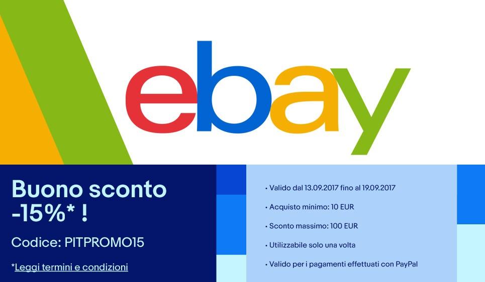 Sconto eBay del 15% per chi paga con PayPal disponibile per pochi giorni
