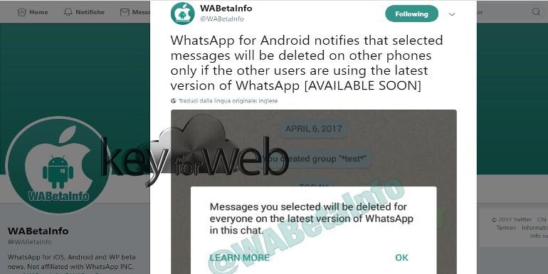 Cancellare messaggi WhatsApp inviati: si può fare