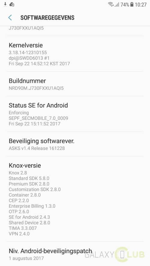Galaxy J7 (2017): nuovo aggiornamento con le nuove patch di sicurezza