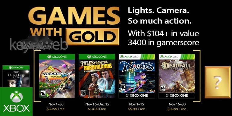 Games With Gold novembre 2017: i giochi Xbox One e 360