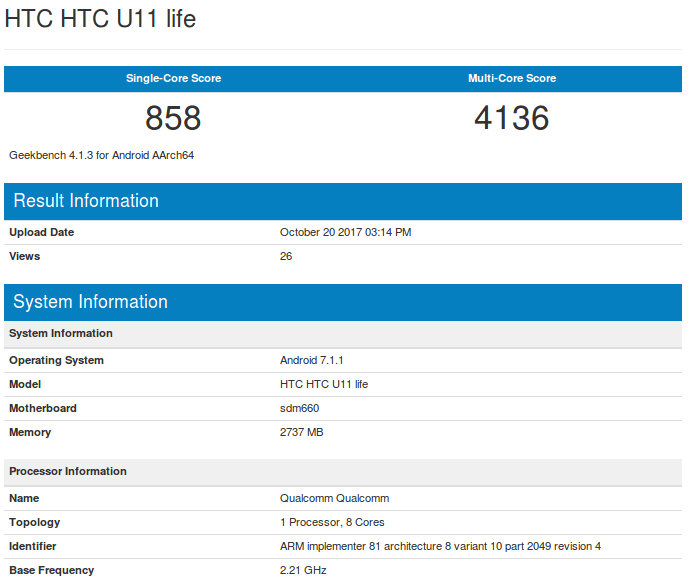 HTC U11 Life - Geekbench