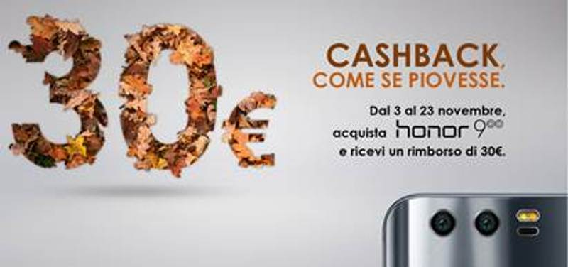Anche a novembre Honor 9 con sconto di 30€ con la Promo Cashback