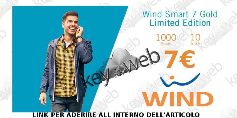 Imperdibile offerta online Wind Smart 7 Gold Limited Edition: 1000 minuti +10GB a 7€, link per aderire