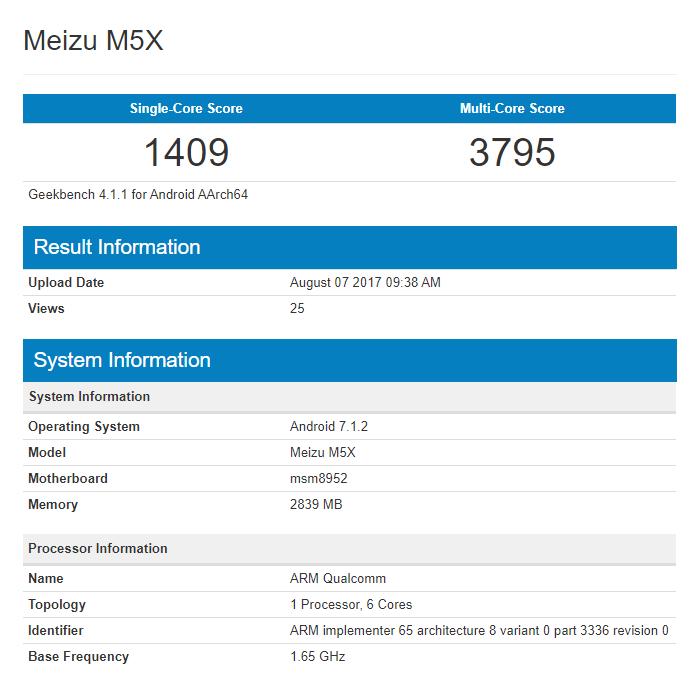 Meizu M5X - Geekbench