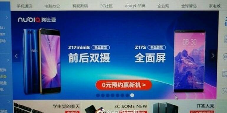Nubia Z17S e Z17 mini S svelati dal noto rivenditore online JD.com