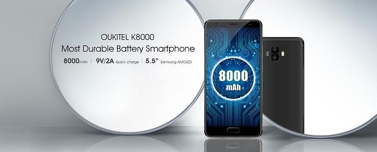OUKITEL K8000 sta arrivando, il primo smartphone con batteria da 8000 mAh al mondo