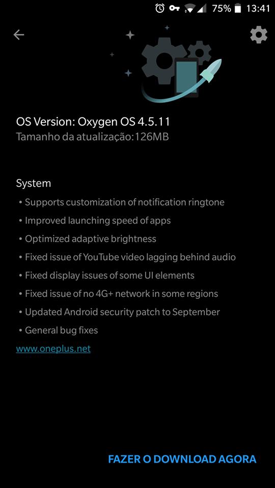 OnePlus 5 - aggiornamento OxygenOS 4.5.11