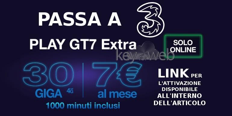 Passa a 3 Italia online con Play GT7 Extra: 1000 minuti e 30GB a 7€, ecco il link per attivarla