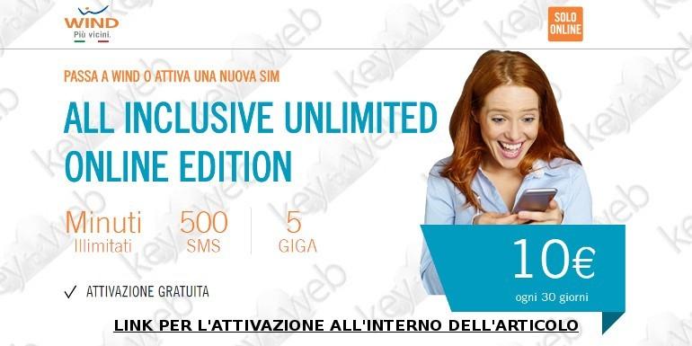 Passa a Wind con All Inclusive Unlimited Online Edition: in regalo 5€ di ricarica, ecco come aderire