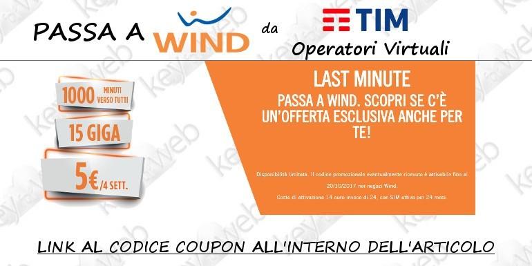 Passa a Wind da TIM e Operatori Virtuali con Smart 5 Star: 1000 minuti + 15GB a 5€, ecco il link al codice coupon