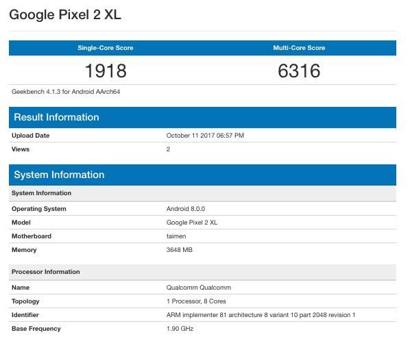 Google Pixel 2 approda su GeekBench con ottimi punteggi