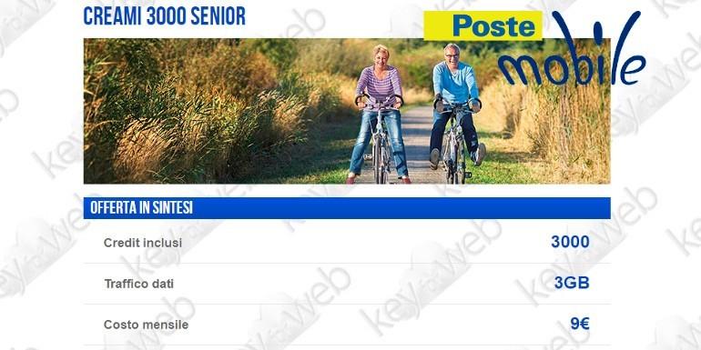 PosteMobile lancia Creami 3000 Senior, l'offerta per gli Over 60 a 9€ al mese