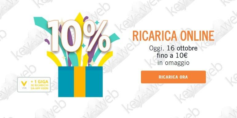 Solo per oggi 16 ottobre 2017 promo ricarica online Wind +10%