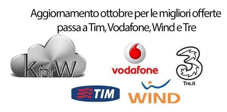 Aggiornamento ottobre per le migliori offerte passa a Tim, Vodafone, Wind e Tre