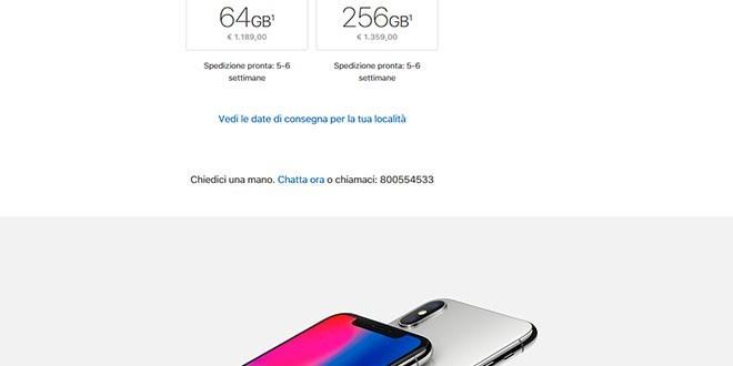 iPhone X, preordini subito spazzolati: slittano le consegne