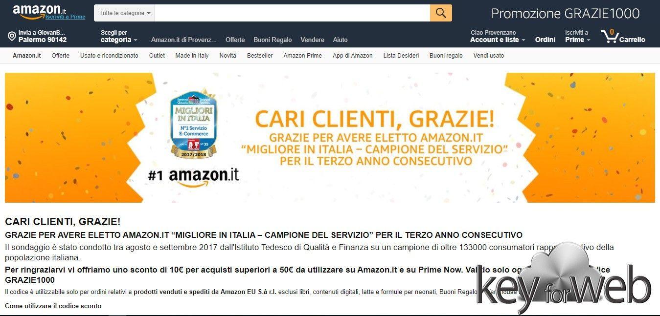 Amazon regala 10 euro ogni 50 euro di spesa solo oggi
