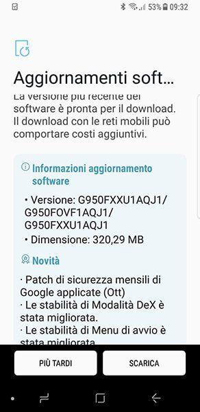 Galaxy S8 Vodafone - aggiornamento patch di ottobre