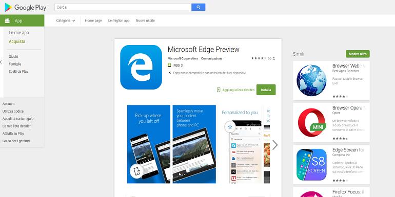 Microsoft Edge si aggiorna con maggiore supporto a Oreo