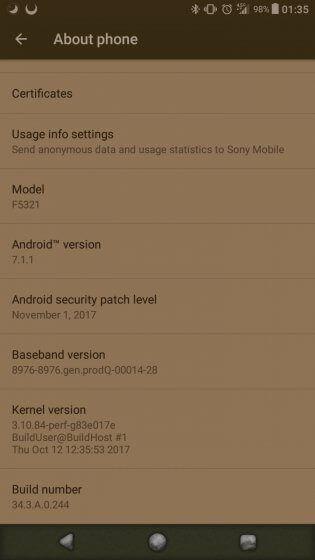 Xperia X Compact aggiornamento - patch di sicurezza Android novembre 2017