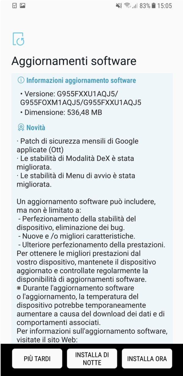 Samsung Galaxy S8+ No Brand Italia si aggiorna