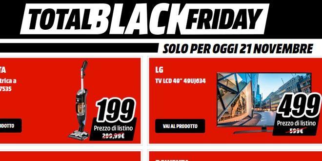 Total Black Friday MediaWorld con tante offerte ogni giorno