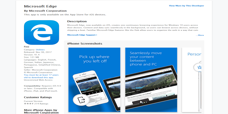 Microsoft Edge su iOS aggiunge il supporto ad iPhone X