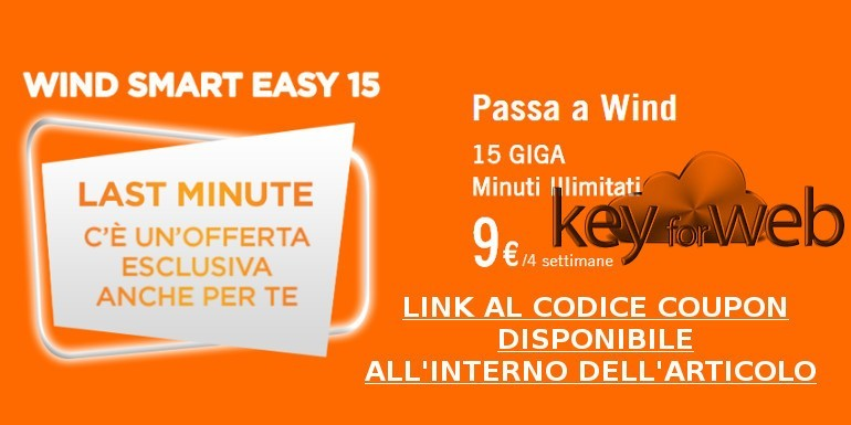 Passa a Wind: 15GB e minuti illimitati a 9€, link al coupon