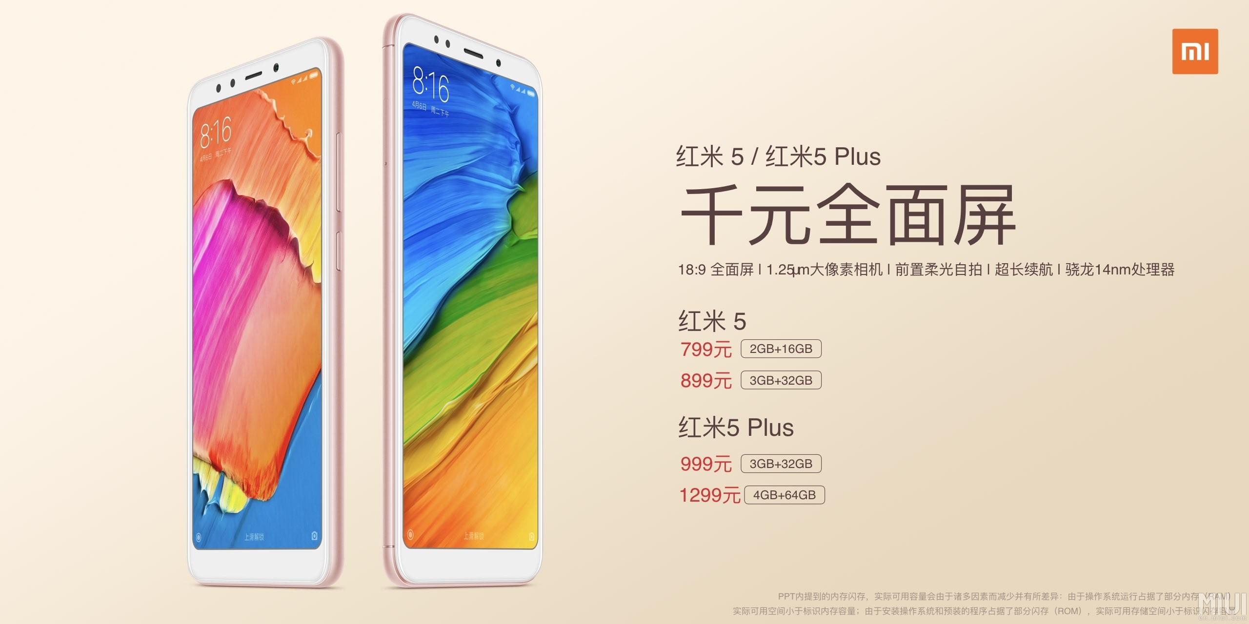 Xiaomi Redmi 5 e 5 Plus ufficiali: fascia media ad un prezzo entry level