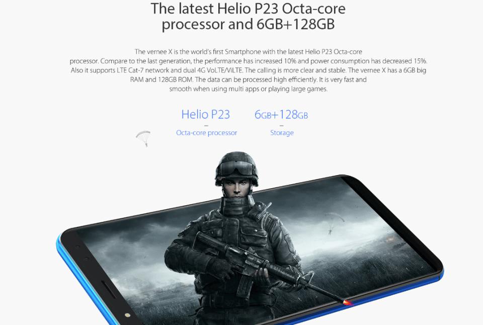 Vernee X - SoC Helio P23 Octa-core, 6GB +128GB