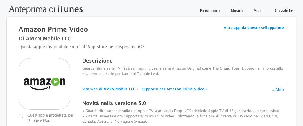 Apple TV ha ora la sua app di Amazon Prime Video