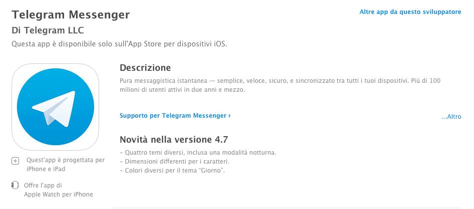 Telegram Messenger aggiunge il supporto ai temi