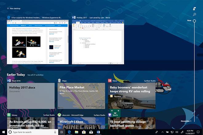 Timeline Windows 10 Build 17063