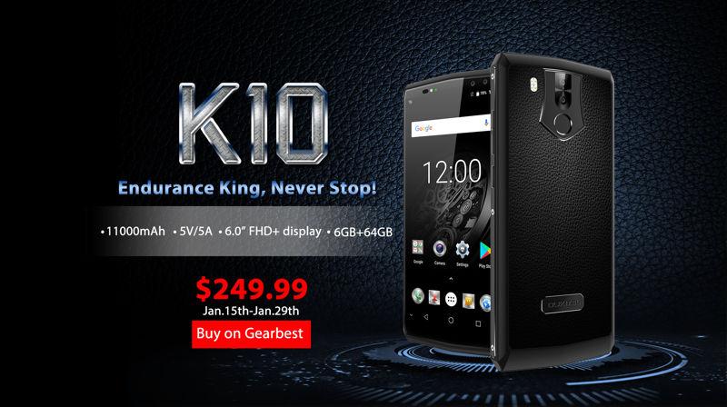 Oukitel K10 iniziata da oggi 15 gennaio la prevendita a 249,99 dollari su GearBest