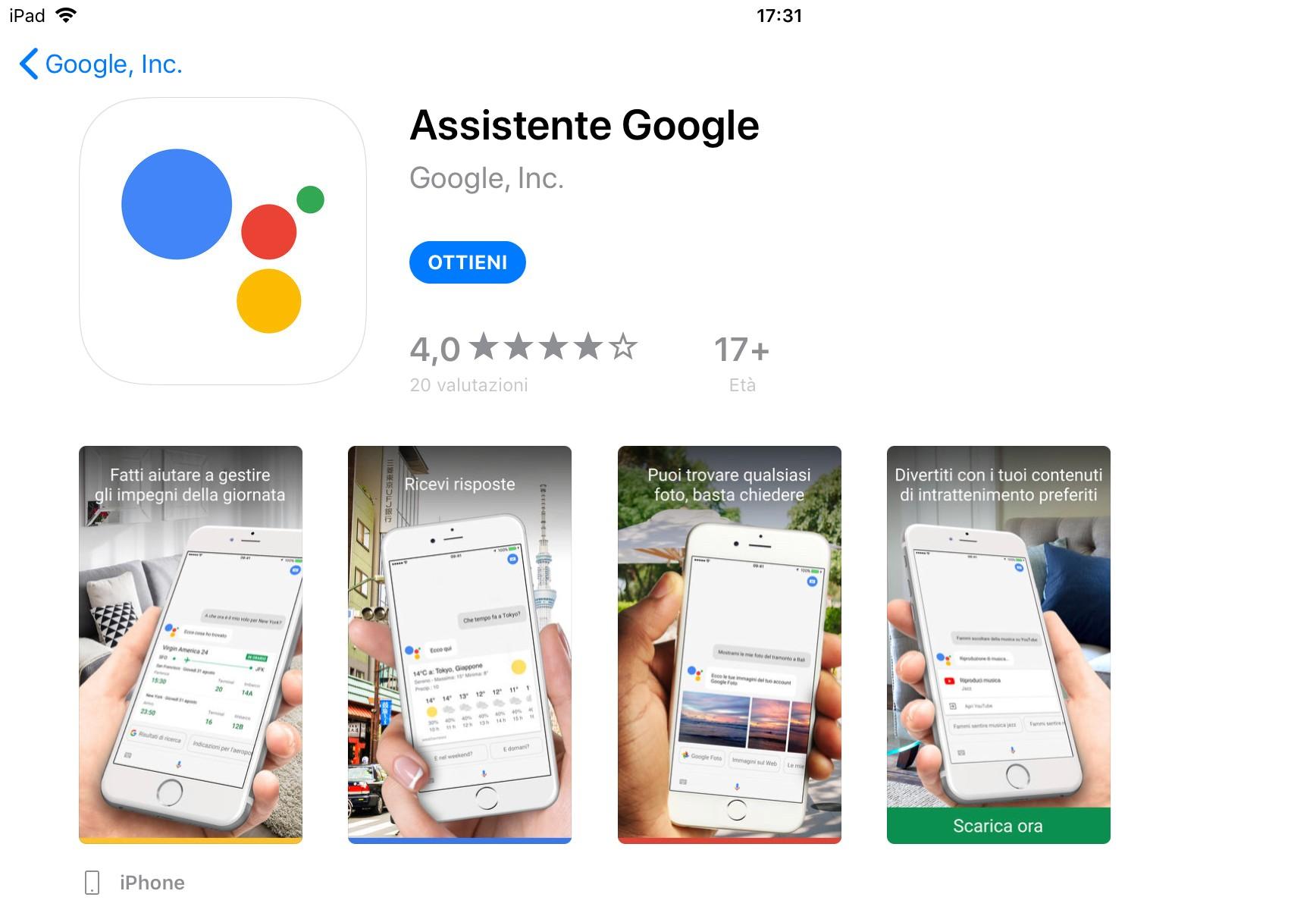 Google Assistant è finalmente disponibile su App Store