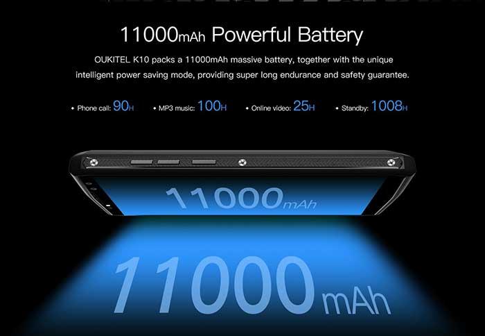 OUKITEL K10, la batteria da 11000 mAh si carica in soli 170 minuti