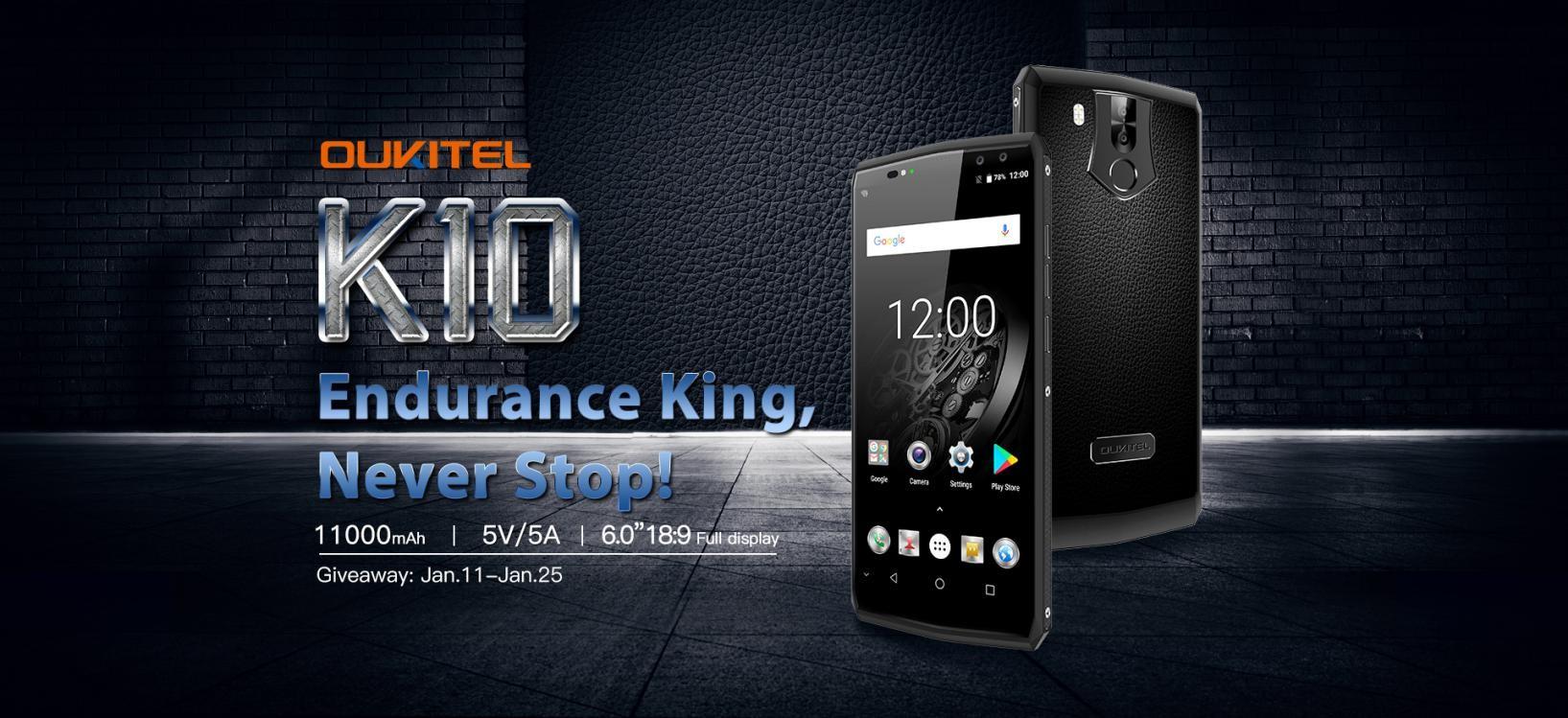 OUKITEL K10, il primo cellulare con batteria da 11000 mAh: confermate le specifiche