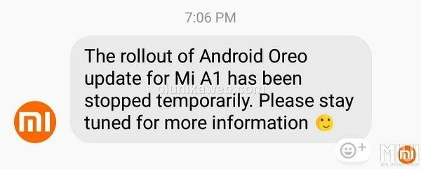 aggiornamento Oreo per Xiaomi Mi A1 interrotto