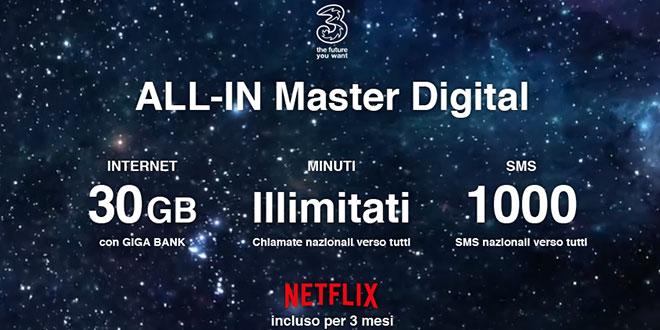 3 Italia per il 2018 lancia All-In Master Digital e All-In Prime Digital