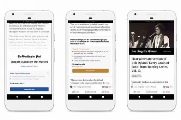 Facebook porterà le notizie a pagamento anche su iOS