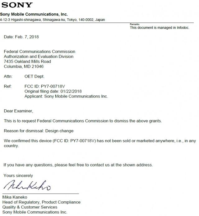 Sony cambia design FCC